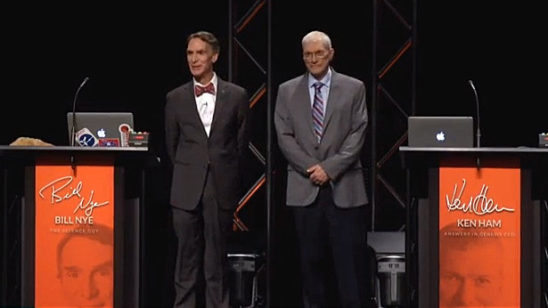 Bill Nye and Ken Ham face off in a 2014 Creationism vs. Evolution debate at The Creation Museum.